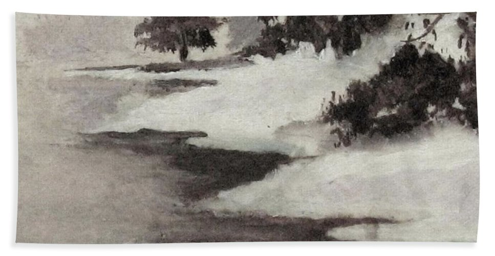 Winter Scene Beach Towel featuring the painting Early Morning Fog by Hazel Holland