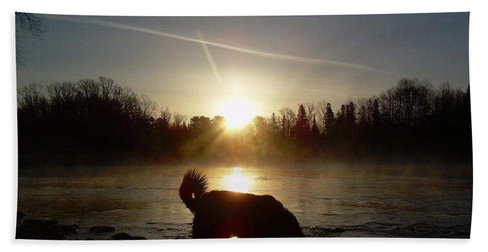 Mississippi River Beach Towel featuring the photograph Fog Over Mississippi River by Kent Lorentzen