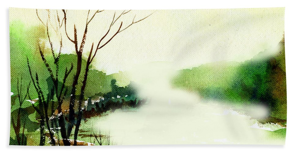 Water Color Beach Sheet featuring the painting Fog1 by Anil Nene
