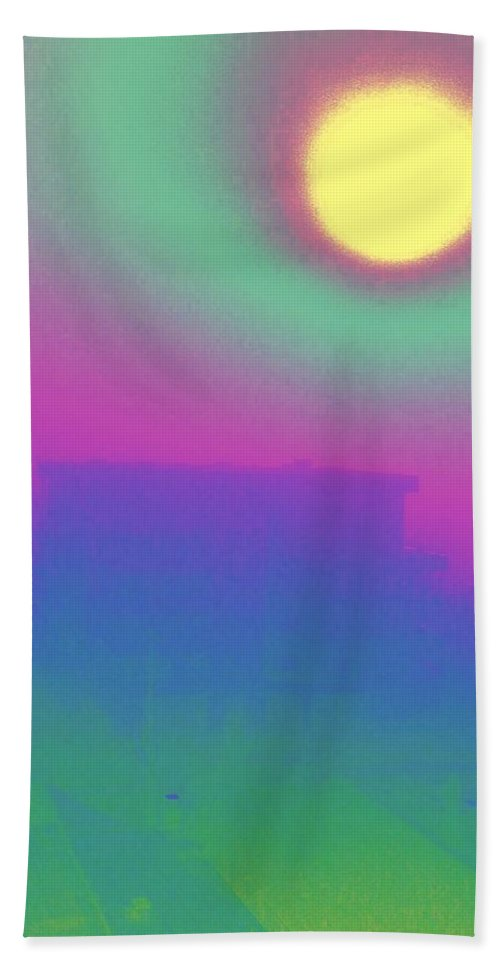 Abstract Beach Sheet featuring the digital art Foggy Day by Tim Allen