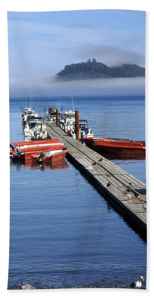 Olympic Beach Towel featuring the photograph Foggy Dock by Marty Koch
