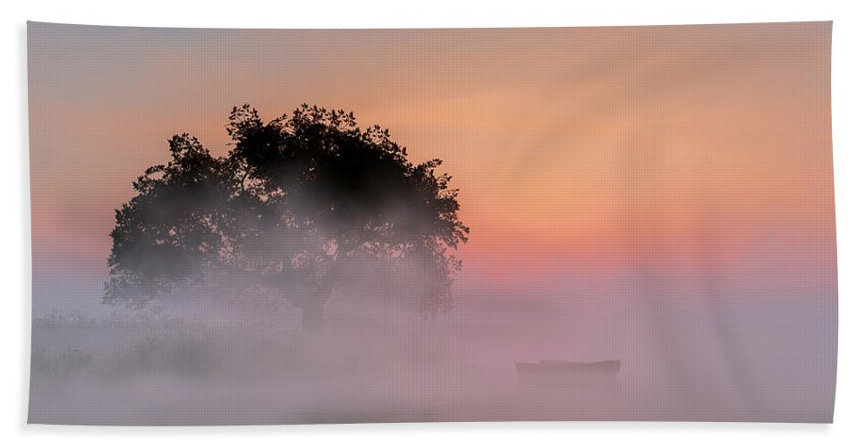Fog Beach Towel featuring the digital art Foggy Lake by Andreas Hoops