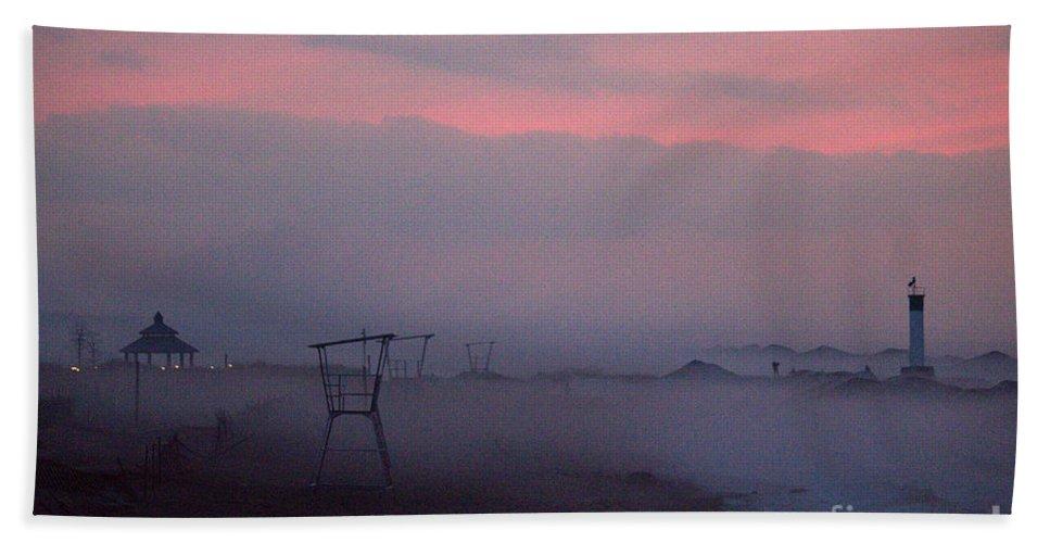 Grand Bend Beach Towel featuring the photograph Foggy Lighthouse 4 by John Scatcherd
