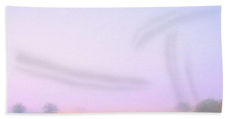 Italy Beach Towel featuring the painting Foggy Morning Tuscany by Dominic Piperata