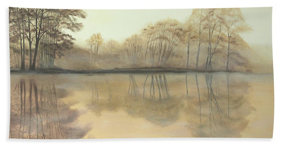 Nature Beach Towel featuring the painting Foggy Reflections by Johanna Lerwick