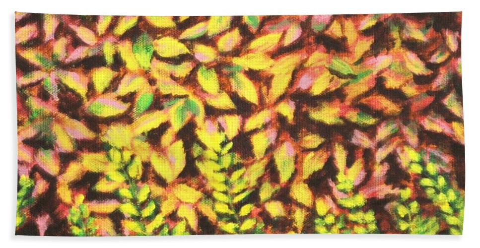 Foliage Beach Towel featuring the painting Foliage 1 by Usha Shantharam