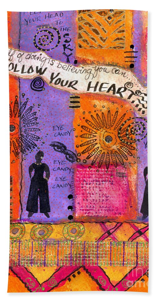 Greeting Cards Beach Towel featuring the mixed media Follow Your Heart by Angela L Walker
