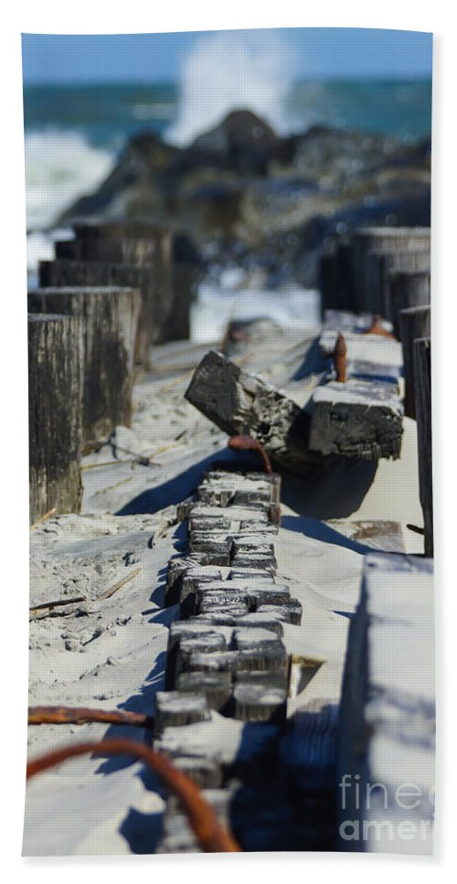 America Beach Towel featuring the photograph Folly Sea Wall by Jennifer White