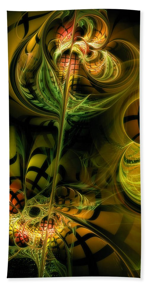 Abstract Beach Towel featuring the digital art Food For Thought by Casey Kotas