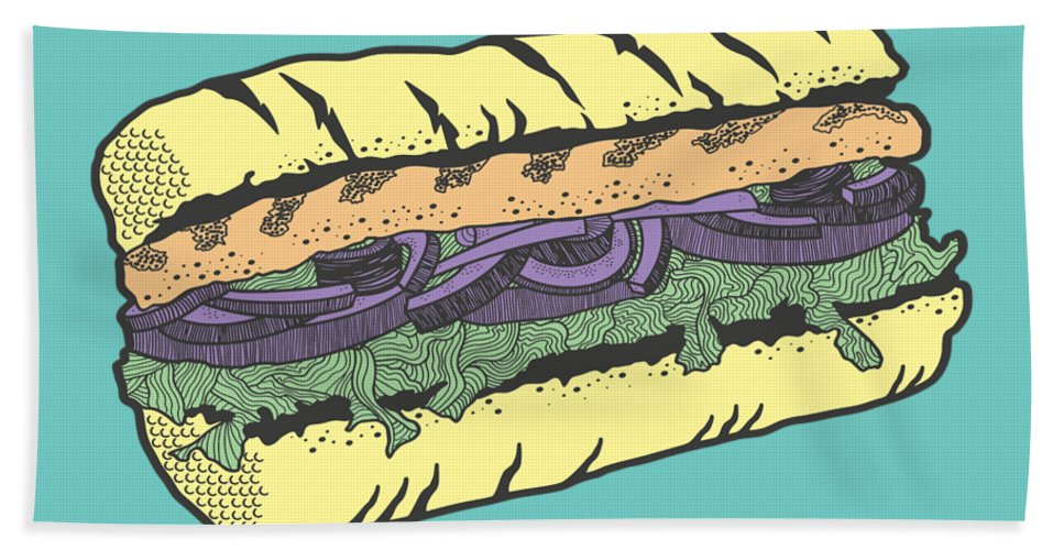 Sandwich Beach Towel featuring the drawing Food Masquerade by Freshinkstain