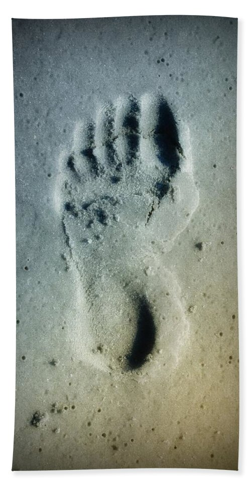 Foot Print Beach Towel featuring the photograph Foot Print In The Sand by Bill Cannon