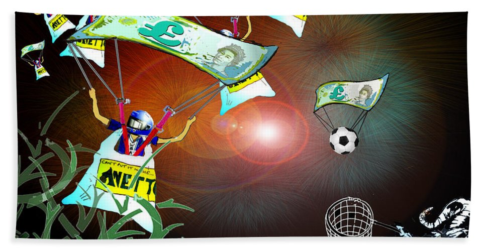 Football Calendar 2009 Derby County Football Club West Brom Artwork Miki Beach Towel featuring the painting Football Derby Rams Against West Brom Baggies by Miki De Goodaboom