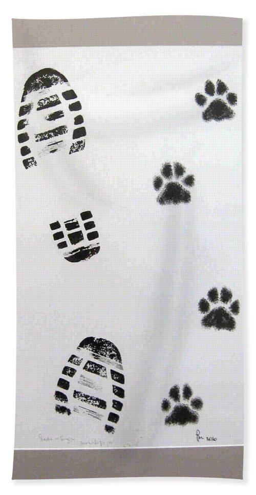 Footprints Beach Towel featuring the drawing Footprints- Friends by Dragica Micki Fortuna
