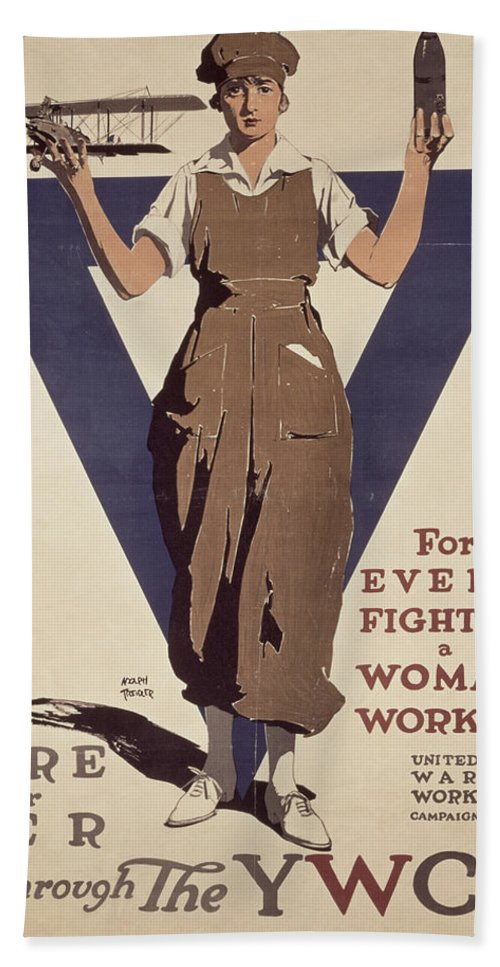 Propaganda Beach Towel featuring the painting For Every Fighter A Woman Worker by Adolph Treidler