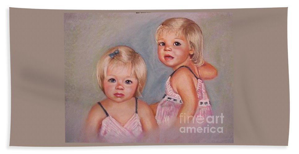 Pastel Portrait Beach Towel featuring the pastel for Lisa by Beverly Boulet