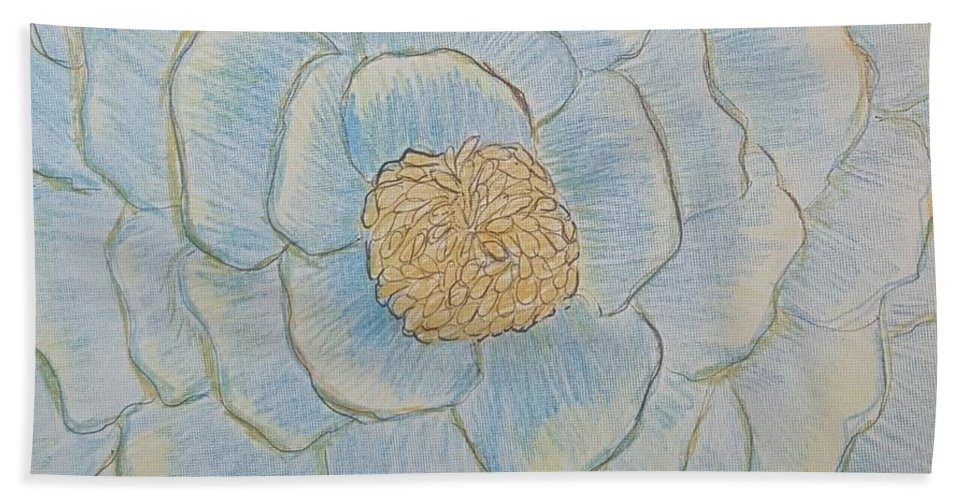 Blue Flower Beach Towel featuring the digital art For Lola by Mary Potts