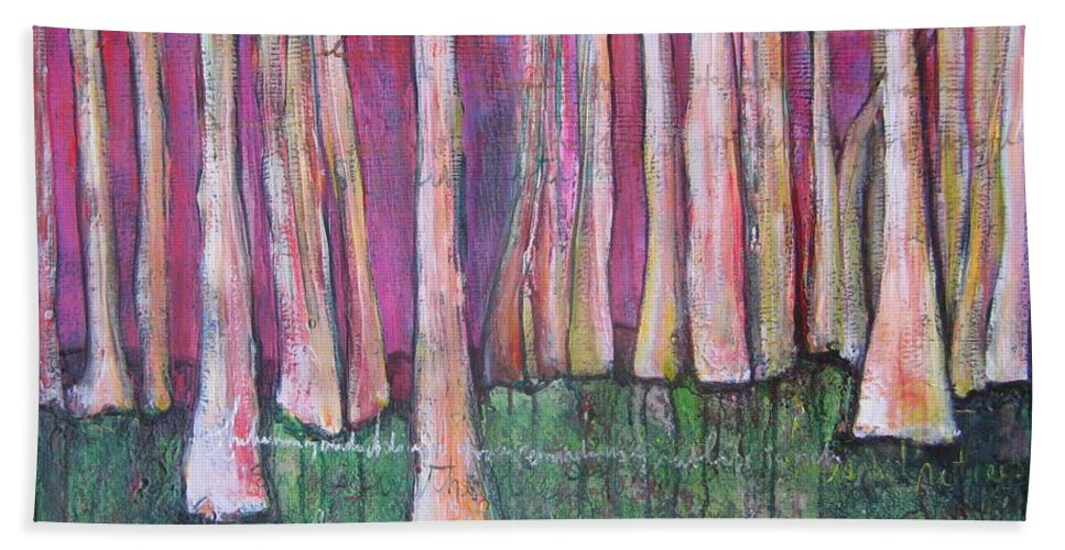 Aspen Trees Beach Towel featuring the painting For Page Turner by Laurie Maves ART