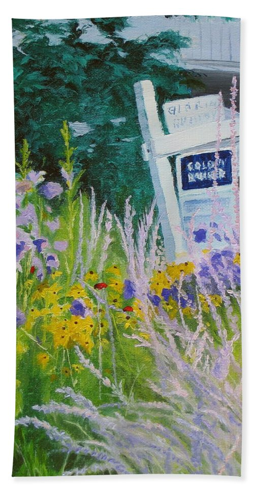 Landscape Beach Sheet featuring the painting For Sale - A Patch Of Paradise by Lea Novak