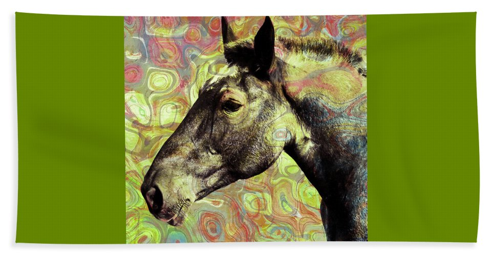 Horse Beach Towel featuring the mixed media Horse by Stacey Chiew