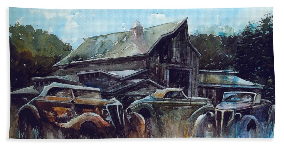 Barn Beach Towel featuring the painting Ford Cabriolets Guard the Barn by Ron Morrison