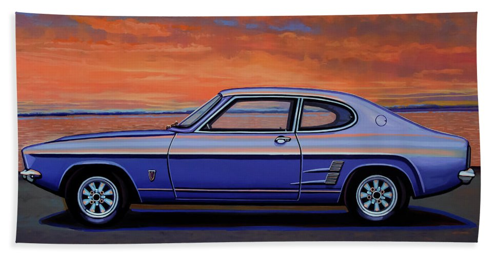 Ford Capri Beach Towel featuring the painting Ford Capri 1969 Painting by Paul Meijering