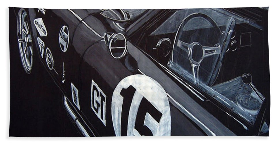 Ford Cobra Racing Coupe Beach Towel featuring the painting Ford Cobra Racing Coupe by Richard Le Page