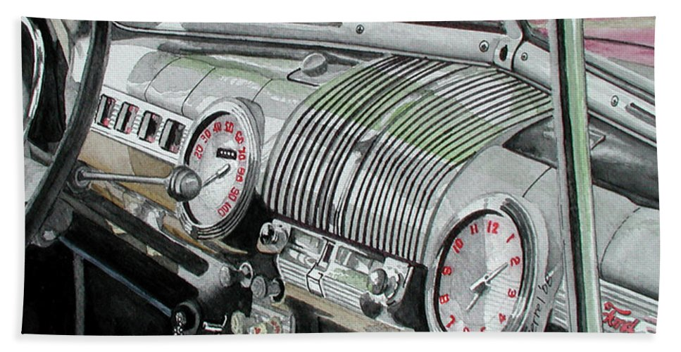 Car Beach Towel featuring the painting Ford Dash by Ferrel Cordle