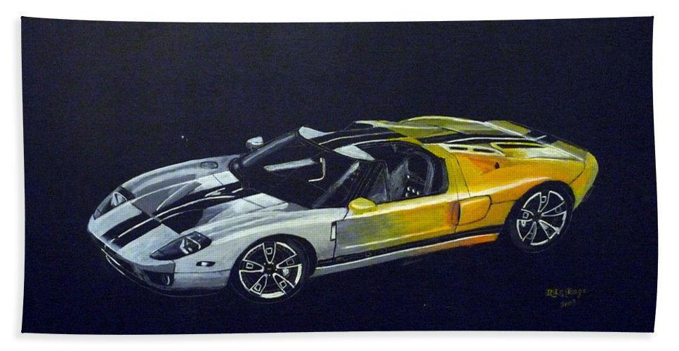 Ford Beach Towel featuring the painting Ford Gt Concept by Richard Le Page