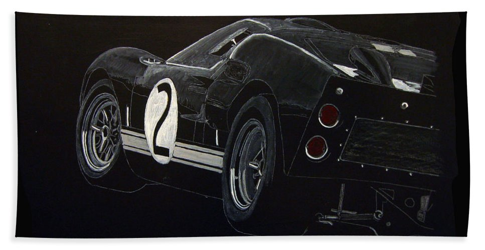 Ford Beach Towel featuring the painting Ford Gt40 Racing by Richard Le Page