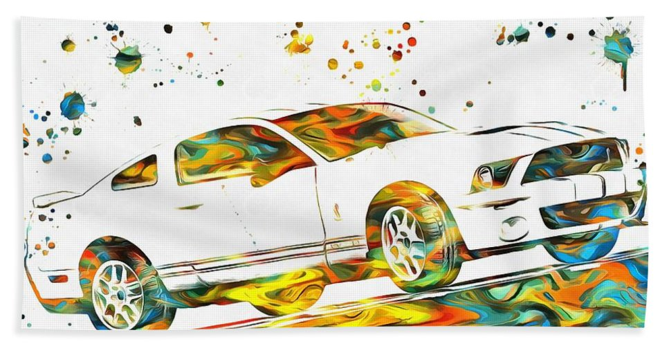 Ford Mustang Paint Splatter Beach Towel featuring the painting Ford Mustang Paint Splatter by Dan Sproul