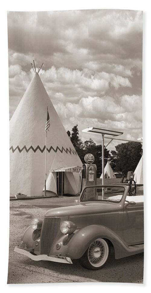 Street Rods Beach Towel featuring the photograph Ford Roadster At An Indian Gas Station Sepia by Mike McGlothlen