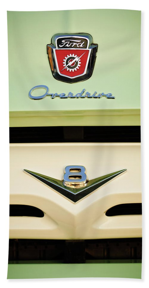 1956 Ford F-100 Truck Emblem Beach Towel featuring the photograph Ford V8 Pickup Emblem by Jill Reger