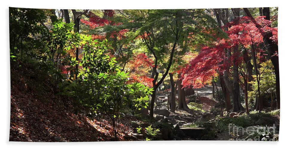 Forest Beach Towel featuring the painting Forest #7 4k by VR Project Art