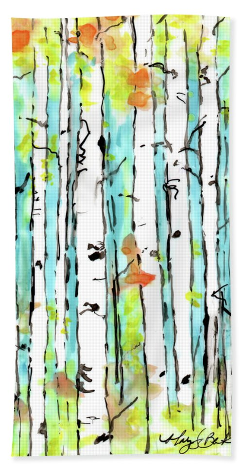 Art Beach Towel featuring the painting Forest For The Trees 2 by Mary Benke
