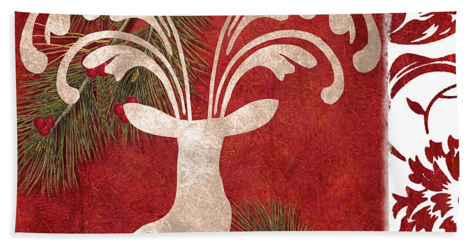 Christmas Beach Towel featuring the painting Forest Holiday Christmas Deer by Mindy Sommers