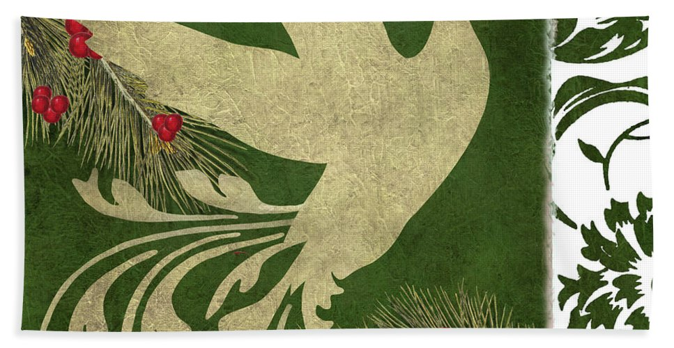 Christmas Beach Towel featuring the painting Forest Holiday Christmas Goose by Mindy Sommers
