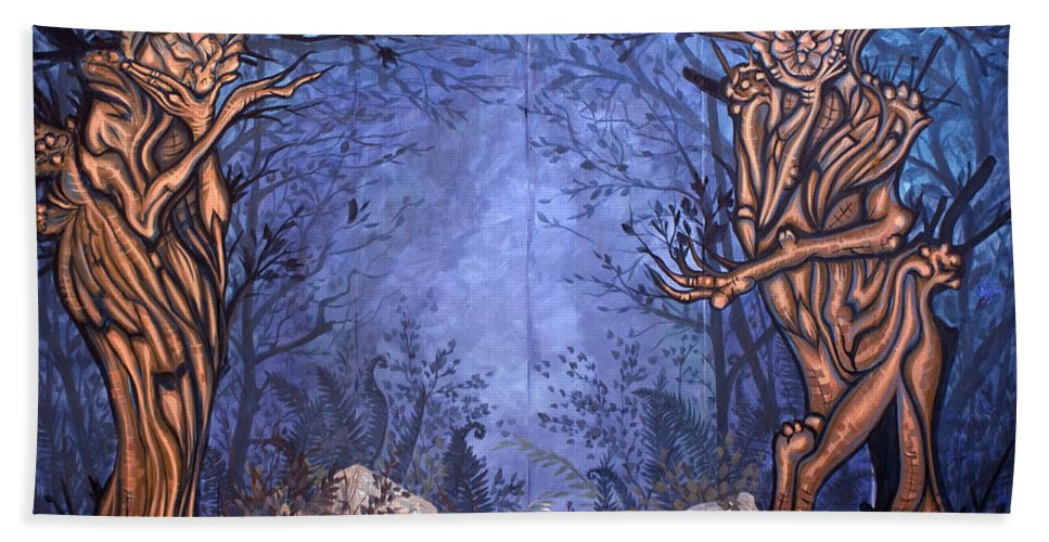 Mystic Beach Towel featuring the painting Forest by Judy Henninger