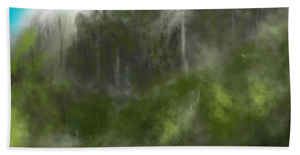 Digital Art Beach Towel featuring the digital art Forest Landscape 10-31-09 by David Lane