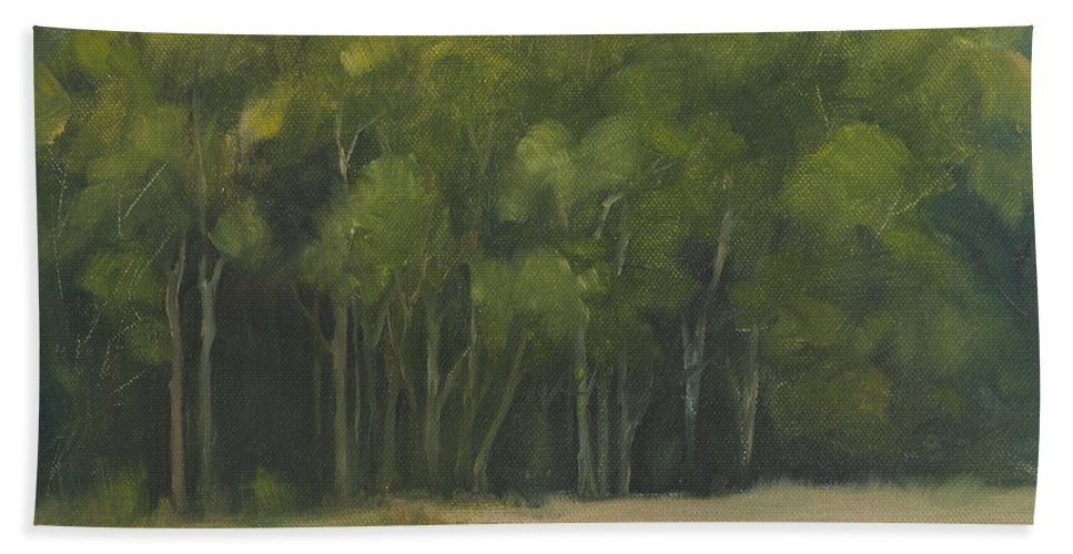 Landscape Beach Towel featuring the painting Forest Light by Mandar Marathe