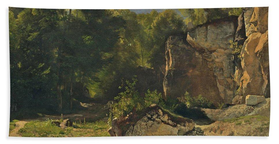 Johann Gottfried Steffan Beach Towel featuring the painting Forest Track. 1855 by Johann Gottfried Steffan