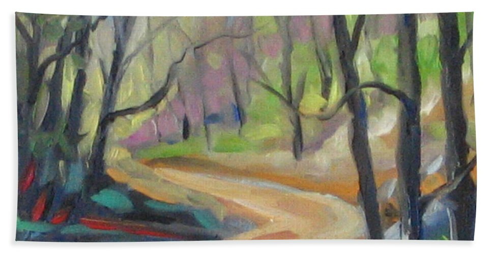 Art Beach Sheet featuring the painting Forest Way by Richard T Pranke