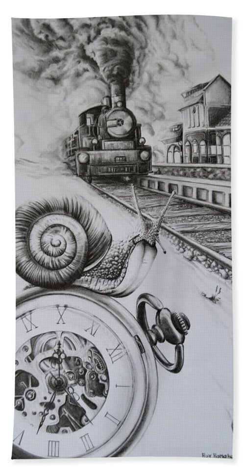 Watch Beach Towel featuring the drawing Forever On Time by Roy Ramakers