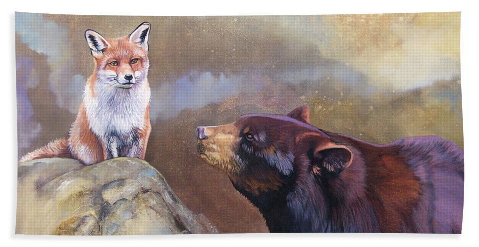 Fox Beach Towel featuring the painting Forgotten Bear Tales by J W Baker