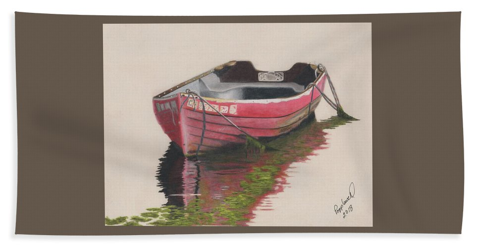 Boat Beach Towel featuring the painting Forgotten Red Boat II by Tom Popplewell