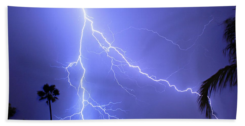 Lightning Beach Towel featuring the photograph Fork In The Sky by James BO Insogna