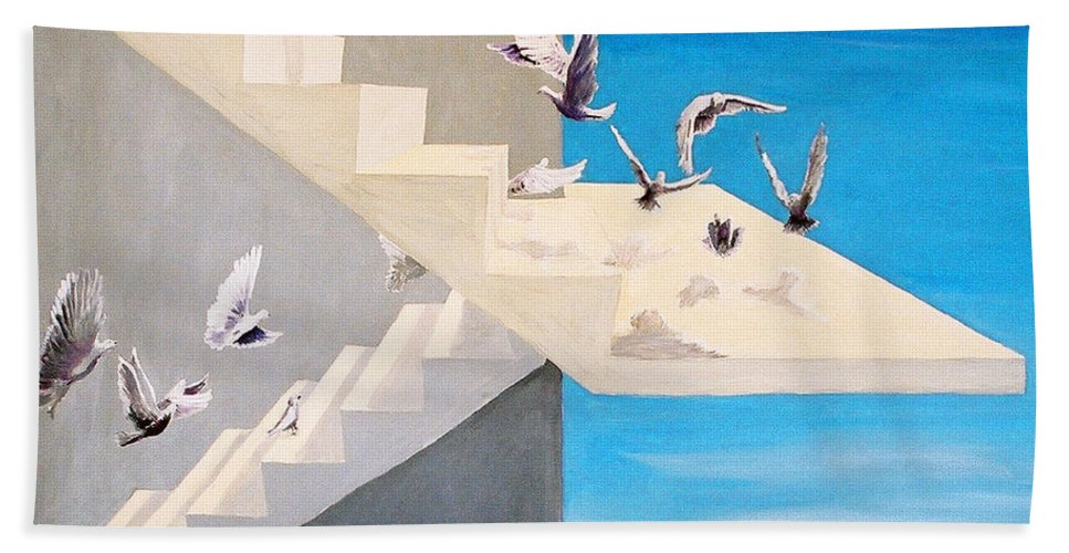 Birds Beach Towel featuring the painting Form Without Function by Steve Karol