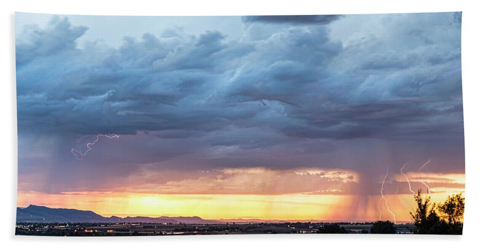 Lightning Beach Towel featuring the photograph Fort Collins Colorado Sunset Lightning Storm by James BO Insogna