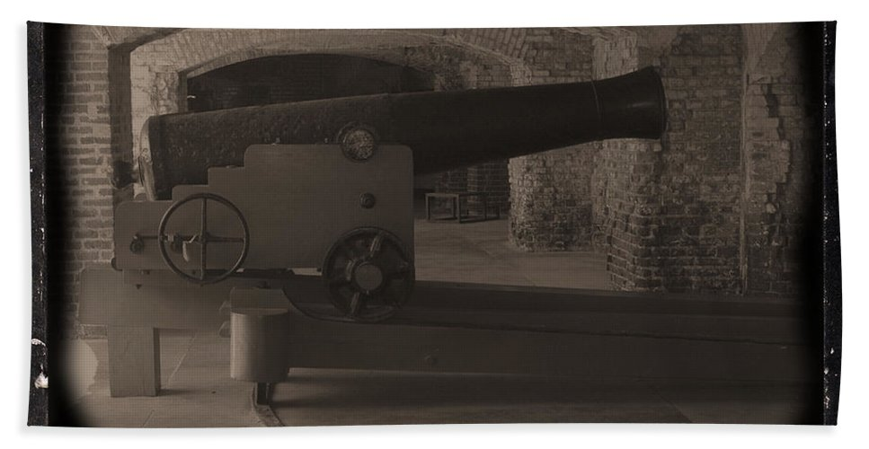 Fort Sumpter Beach Towel featuring the photograph Fort Sumpter Cannon by Tommy Anderson