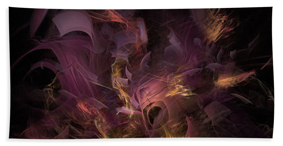 Abstract Beach Towel featuring the digital art Fortress Of The Mind - Fractal Art by NirvanaBlues
