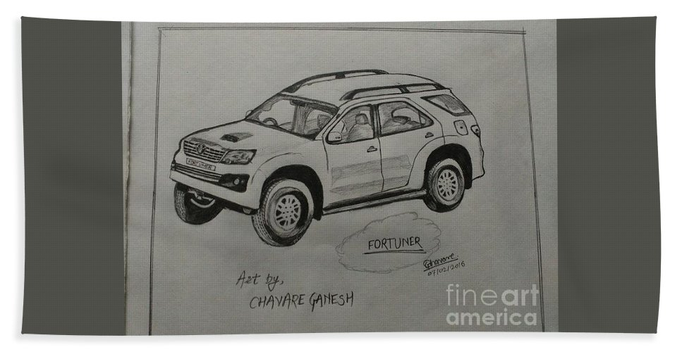 Landscape Beach Towel featuring the drawing Fortuner by Ganesh Chavare